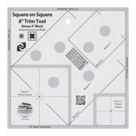 Creative Grids Square on Square Trim Tool 4 or 8 Finished at KayeWood