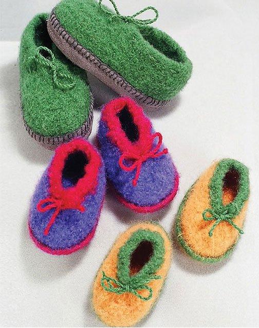 Crocheted Felt Slippers for Children by Bev Galeskas