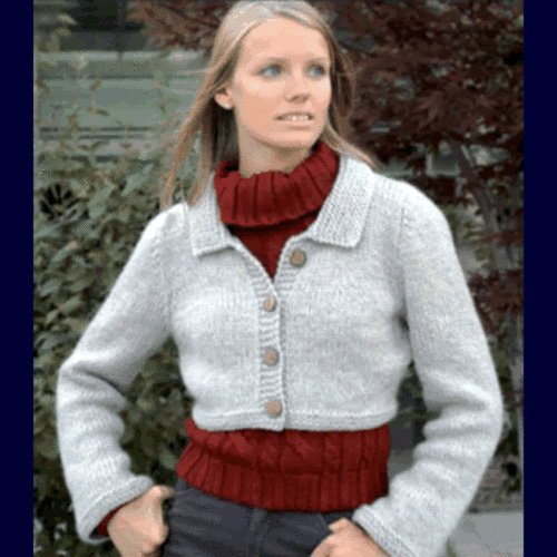 Cropped Jacket Knitted Sweater Pattern in 2 Sizes by Bev Galeskas