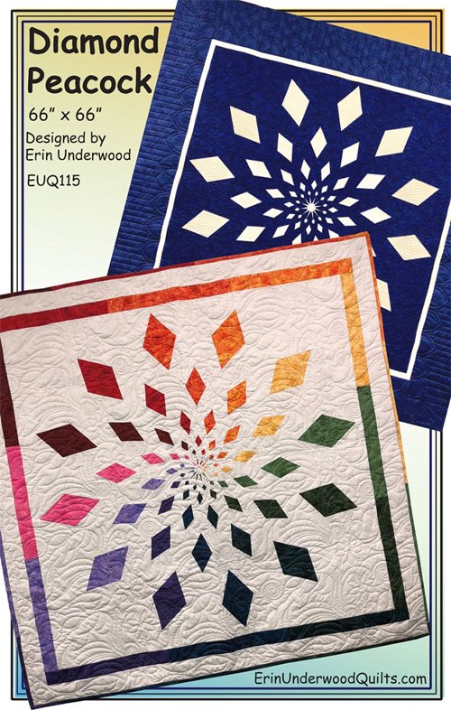 Diamond Peacock Quilt Pattern by Erin Underwood Quilts