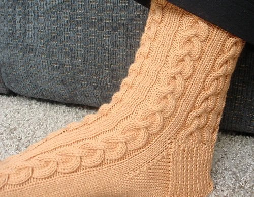 Dressed to the 9's Cable Sock Knitted Pattern by Kelly Jensen