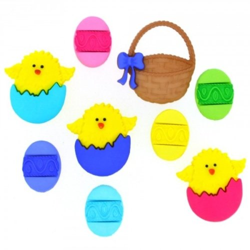 Easter Basket Themed Set of 7 Buttons by Dress it Up