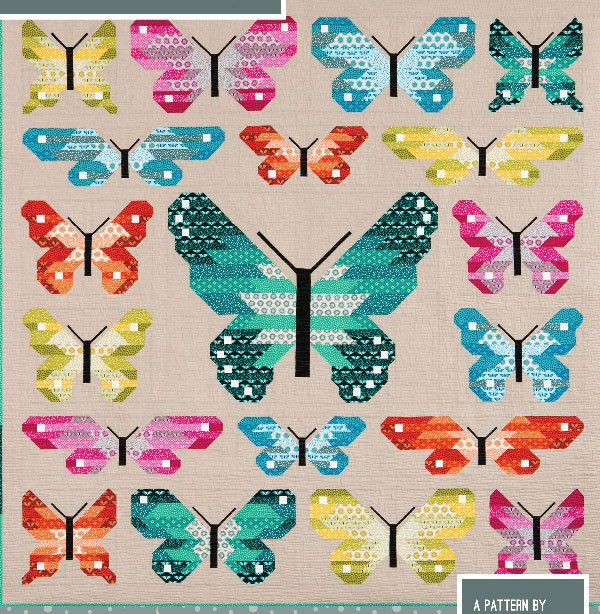 Lepidoptera Butterfly Quilt Pattern in 2 Sizes by Elizabeth Hart