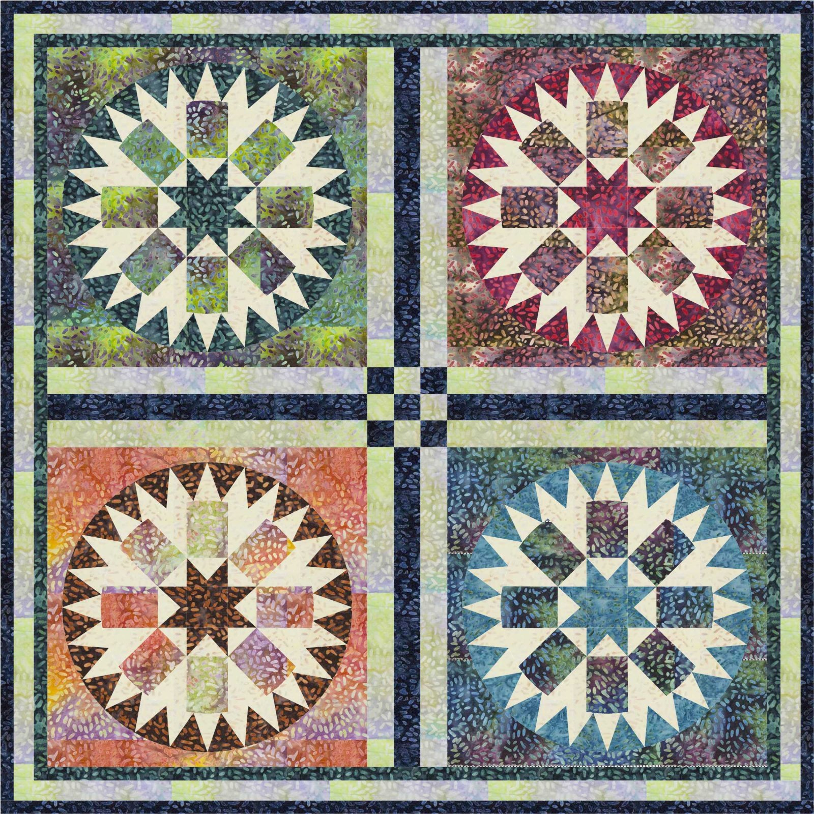 Eye on the Sky Quilt Pattern in 2 Sizes by Morning Glory Designs
