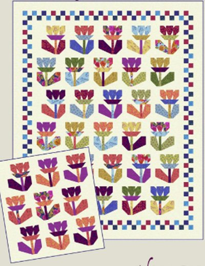 Fanciful Flowers Quilt Pattern in 2 Sizes by Nancy Rink Designs