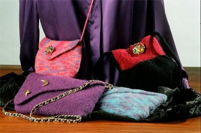 Felt Purses and Shoulder Bags II Knitting Pattern by Fiber Trends