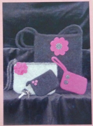 Flower Power Knitted and Felted Bag and Key Fob Pattern by Two Old Bags