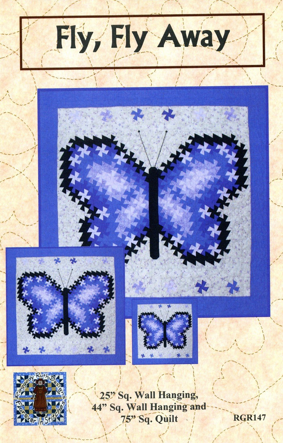 Fly Fly Away Twister Wallhanging Pattern in 3 Sizes by Raggedy Ruth Designs