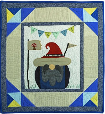 Fridrik the Gnome September Block from the Gnomio Quilt EPattern by Charisma Horton