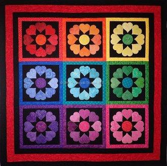 Rainbow Hearts Quilt Pattern by Fun Threads Designs