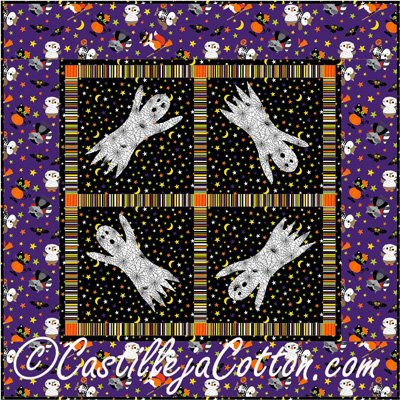 Ghostly Harvest Moon Wallhanging Epattern by Castilleja Cotton