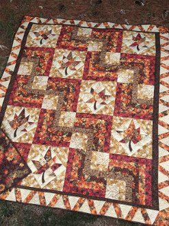 Swirling Leaves Quilt Pattern by Quilted Garden Designs