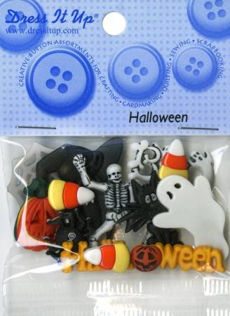 Halloween Themed Button Pack Set of 8 Buttons by Dress It Up