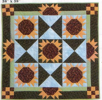 Sunflower Sky Wall Hanging Pattern by Happy Apple Quilts