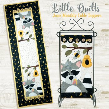 June Honey Bandit Small Wallhanging and Tablerunner Pattern and Buttons by The Wooden Bear