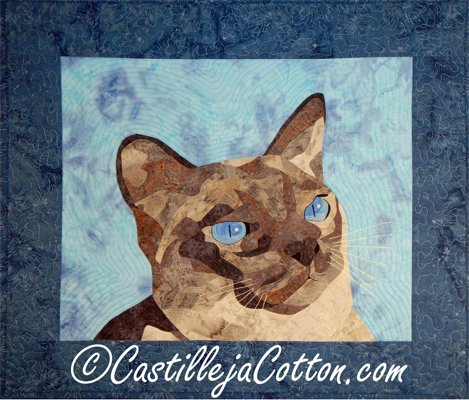 Jake the Cat Art Quilt Wallhanging Epattern by Castilleja Cotton