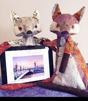 The Fox Stop Stuffed Cushion For Tablets and Phones by Java House Quilts