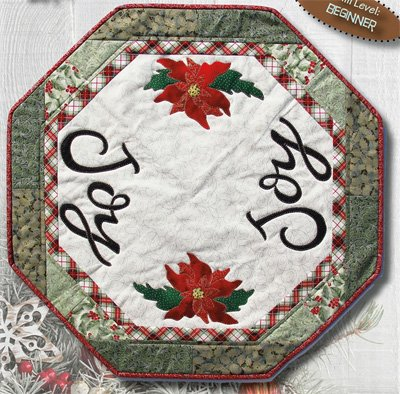 Joy & Poinsettia Table Mat Pattern by Patchabilities