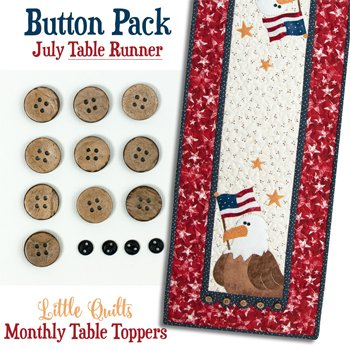 July Eagle Salute Tablerunner Button Pack by The Wooden Bear
