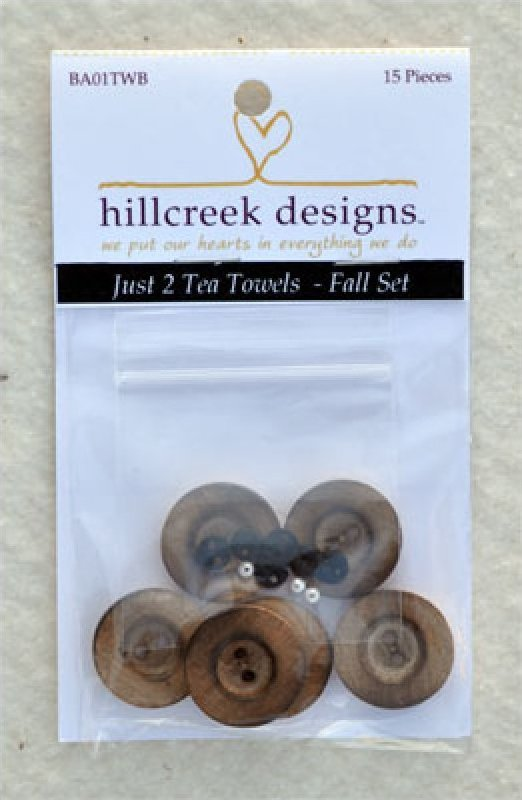 Just 2 Tea Towels Fall Set of 15 Buttons