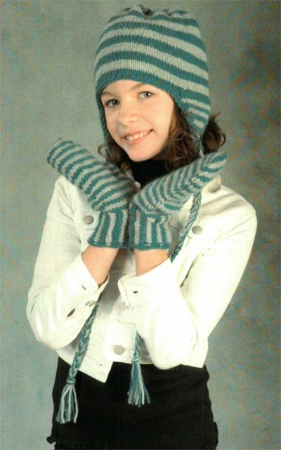 Kid's Earflap Hat and Mittens Pattern 2404 by Plymouth