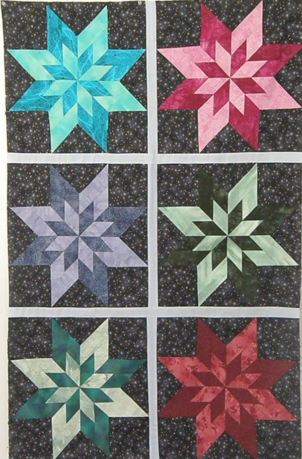 Blazing Stars Quilt Pattern in 4 Sizes by Kaye Wood