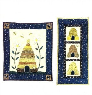 Bee Skeps Set of 2 Wall Quilts Patterns by Little Country Quilts