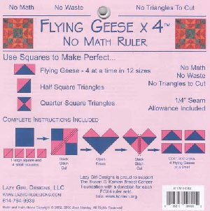 Flying Geese X 4 No Math Ruler by Lazy Girl Designss