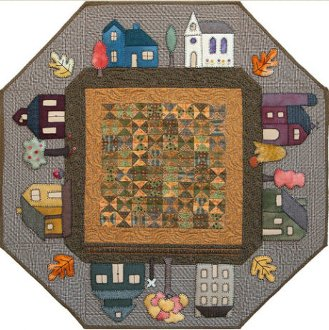 Prairie Town in the Autumn Table Topper Pattern by Little House Quilts
