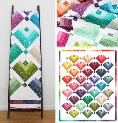 Lovely Ombre Cabins Quilt Pattern by V & Co