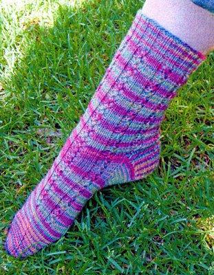 Magic Lace Rib Socks Knitting Pattern by Natalie Wilson of Initiative