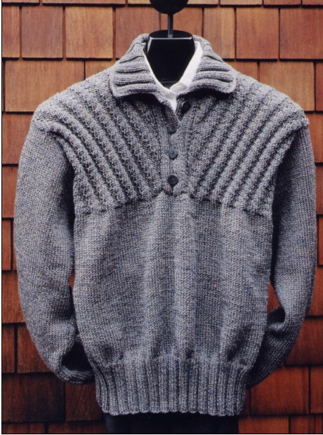 Ribbed Yoke Placket Pullover Pattern for Men and Women by Mari Sweaters