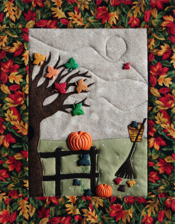 Falling Leaves Button Quilt Pattern With Buttons by Mouse Blankets