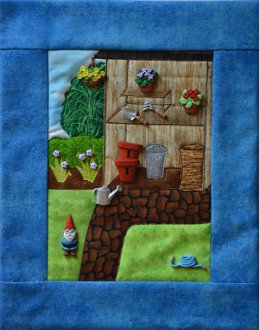 Potting Shed Applique Button Quilt Pattern With Buttons by Mouse Blankets