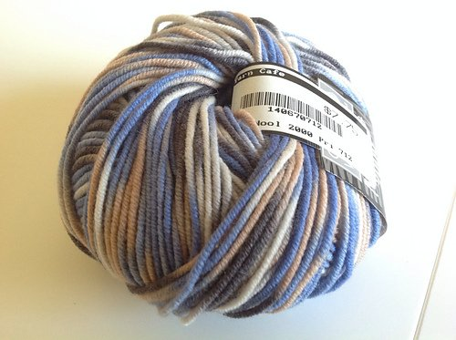 Cool Wool Merino 2000 by Lana Grossa Color 712 Blue Tan Multi