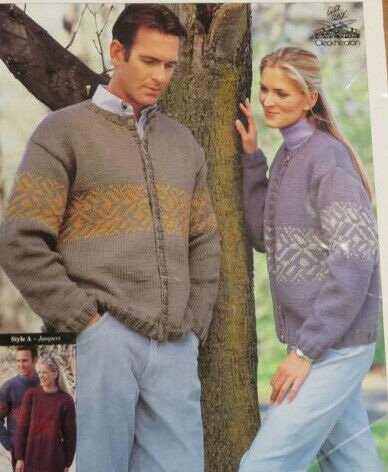 Men's and Women's Hand Knitted Sweater Pattern by Cleckheaton