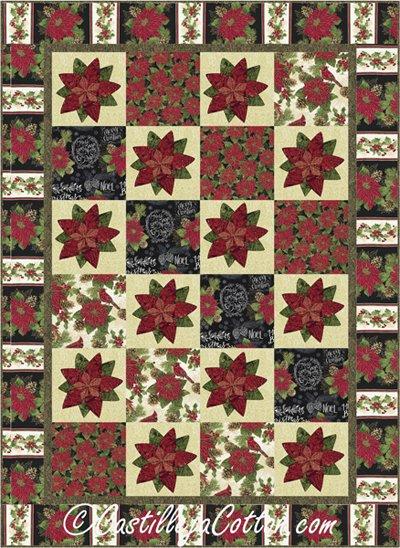 Merry Poinsettia Quilt Pattern by Castilleja Cotton