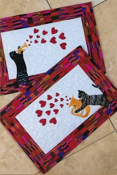 Mewsical Tabbies Placemats Pattern by Trouble and Boo Designs
