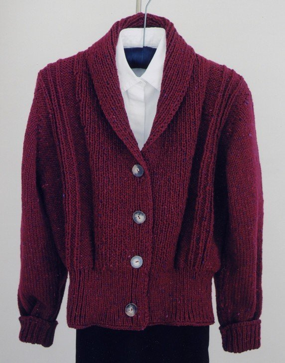 Bulky Weight Shawl Collar Cardigan Pattern by Mari Sweaters