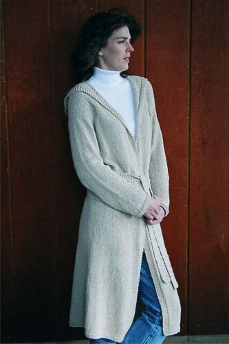 Neckdown Long Hooded Cardigan for Women Knitting Pattern by Knitting Pure and Simple