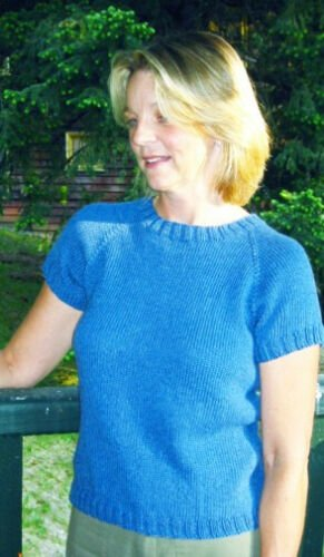 Neckdown Shaped T Shirt Knitting Pattern by Knitting Pure and Simple