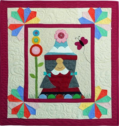 Nissa the Gnome June Block from the Gnomio Quilt EPattern by Charisma Horton