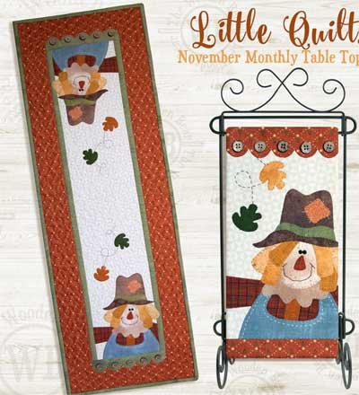 November Crow's Best Friend Applique Wallhanging and Tablerunner Pattern and Button Packs