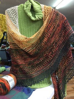 Facets of Michigan Shawl -Tahquamenon Falls Shawl Shop Sample