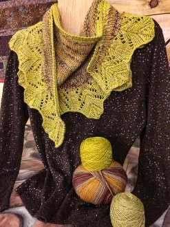 Facets of Michigan Shawl Series - Indian Corn (Romance) for Sept at North Woods Knit & Purl