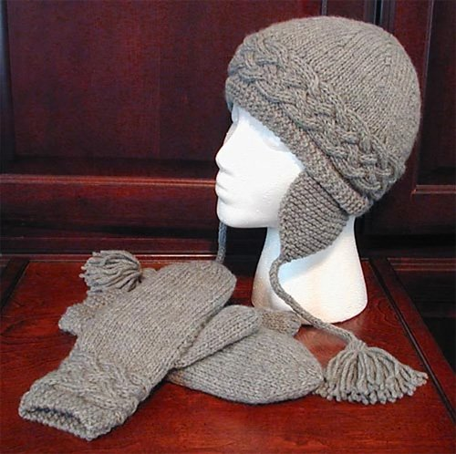 On the Edge Cabled Hat and Mittens Knitting Pattern by Lisa Knits