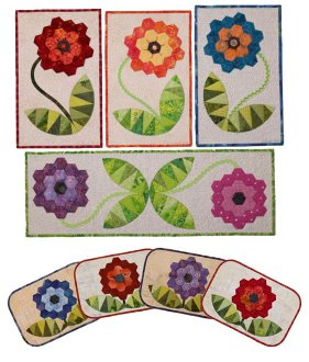 Flower Hugs Wall Quilt Tablerunner and Placemat Pattern by Presto Avenue Designs