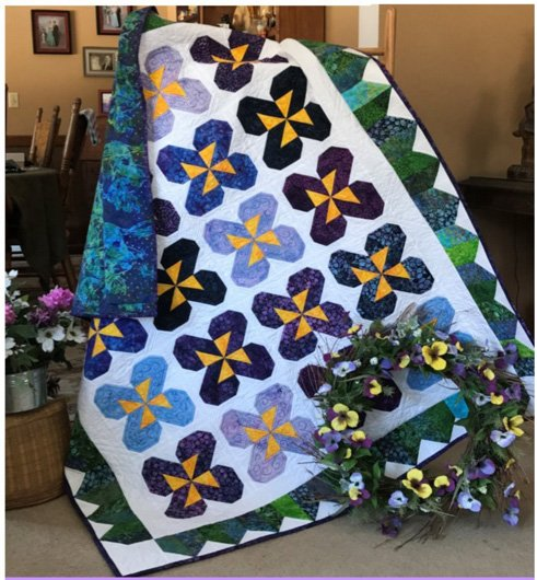 Pansy Party Quilt Pattern in 4 Sizes by Little Louise Designs