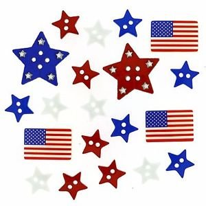Patriotic Shapes Button Pack 15ct by Dress It Up