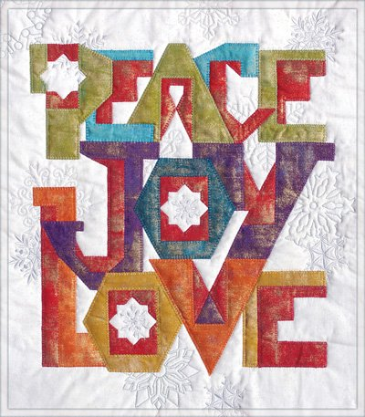 Peace Joy Love Applique Quilt Pattern in 2 Styles